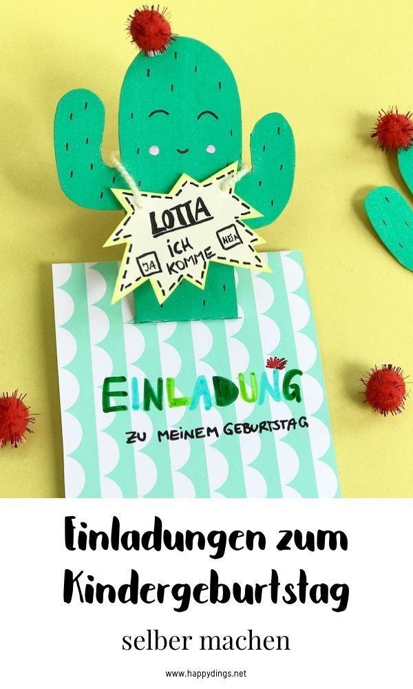 einladungskarten für den kindergeburtstag - pop-up kaktus