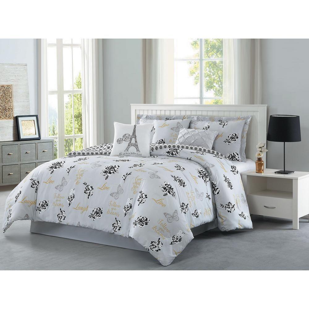 Love What You Do 7 Piece Grey Yellow Queen Reversible Comforter