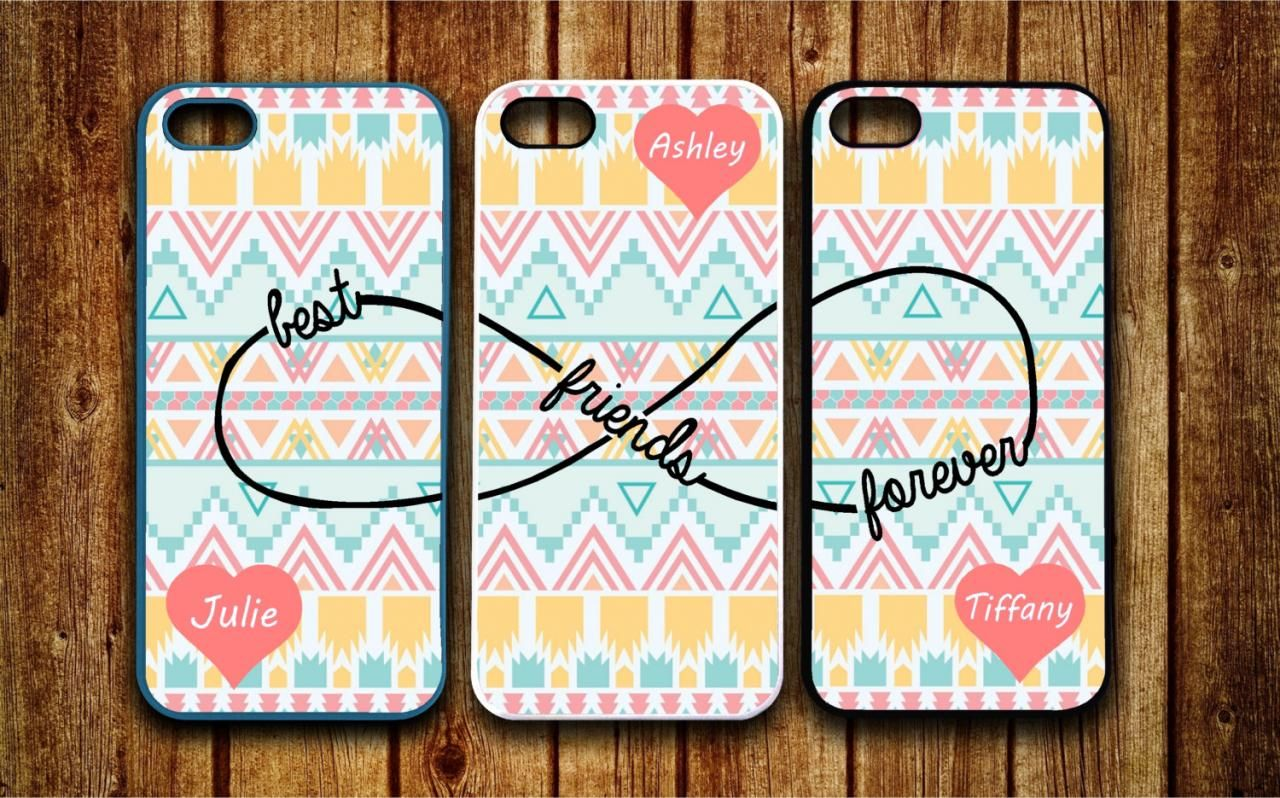 Fundas Stripes Best Friends BFF Clear Soft Silicone Couple Cover