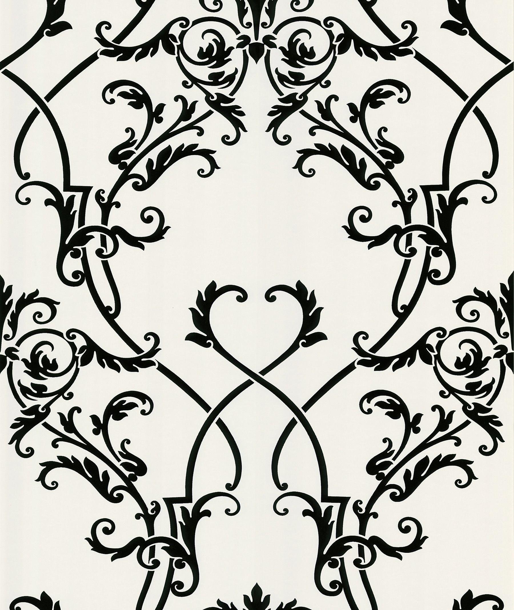 "Ink Chandelier 33' x 20.5"" Damask Embossed Wallpaper"