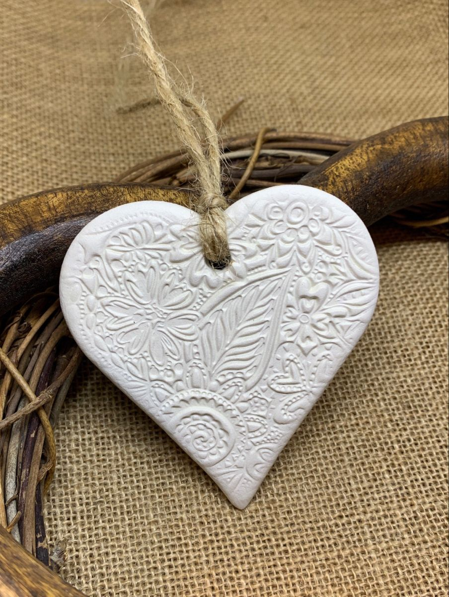 Hanging Heart Decoration White Clay Floral Pattern Etsy Hanging Hearts Heart Decorations White Clay