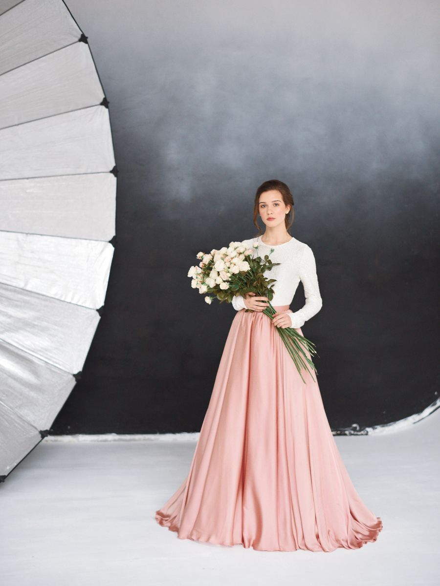 Romantic wedding dress otrada by milamira bridal long sleeved