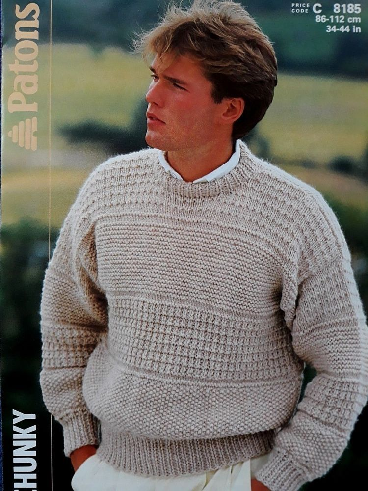 Knitting Pattern Patons 8185 Mens Chunky Round Neck Sweater