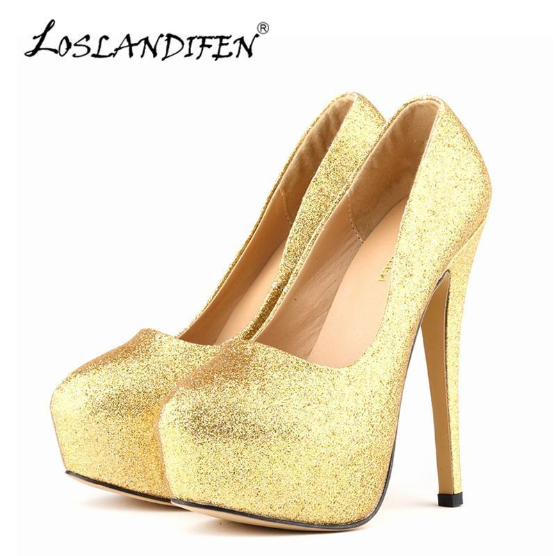 LOSLANDIFEN Sexy Women Pumps Ultra High Heels Glitter Gold Shoes 14cm  Platform Round Toe Ladies Wedding Party Shoes 817-1Gitter Tag a friend who  would love ... ef6e5e908bef