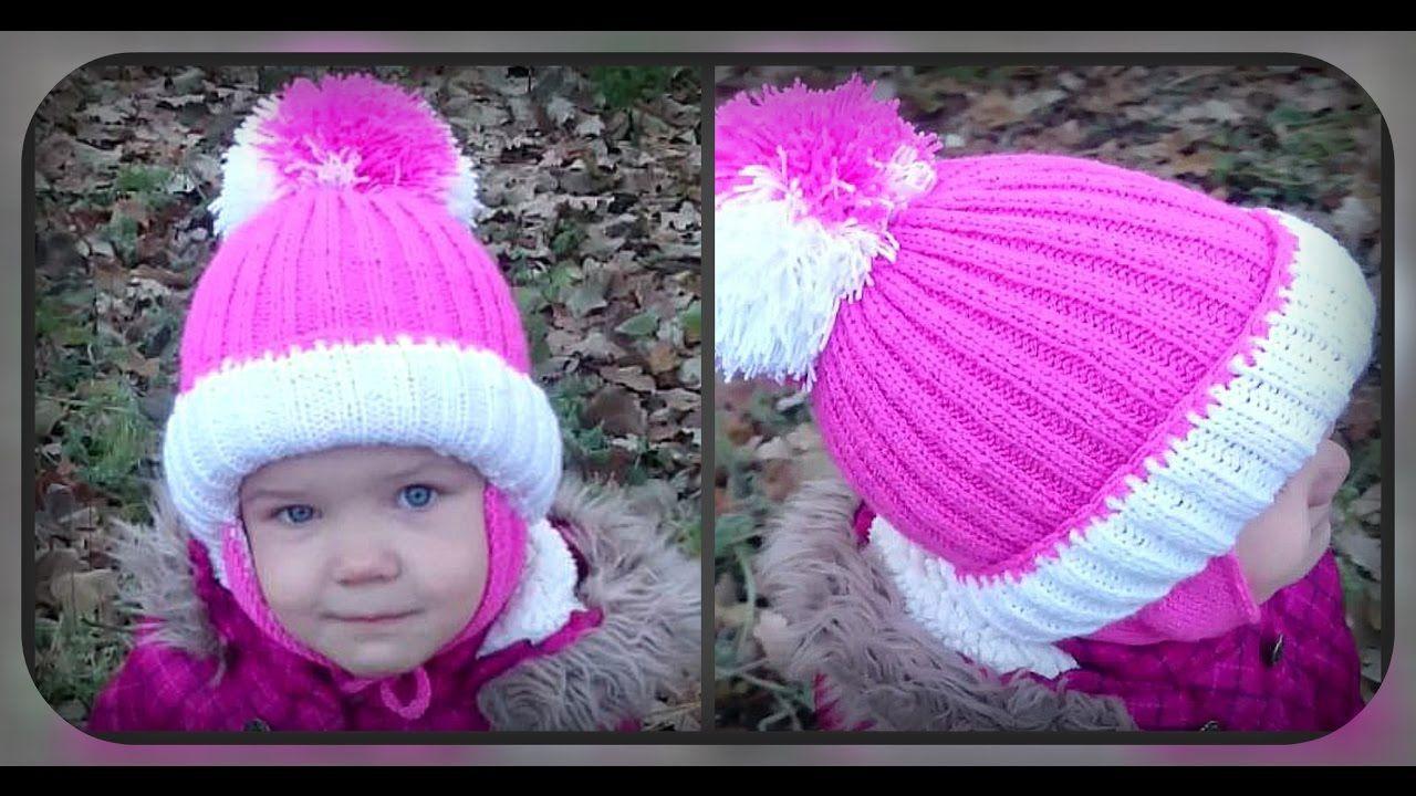 зимняя шапка с ушками на 4 5 лет вязание спицами головные уборы