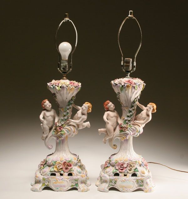 Capodimonte Lamps Pair Of Capo Di Monte Hand Painted Porcelain