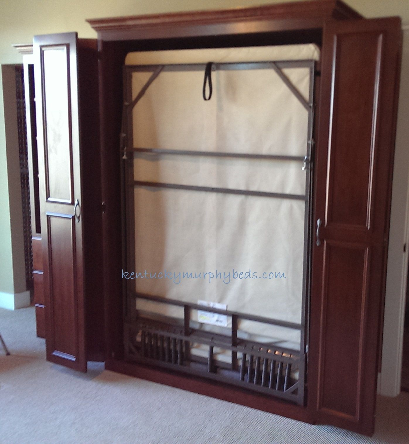 Cherry raised cathedral arch queen size Murphy bed with two