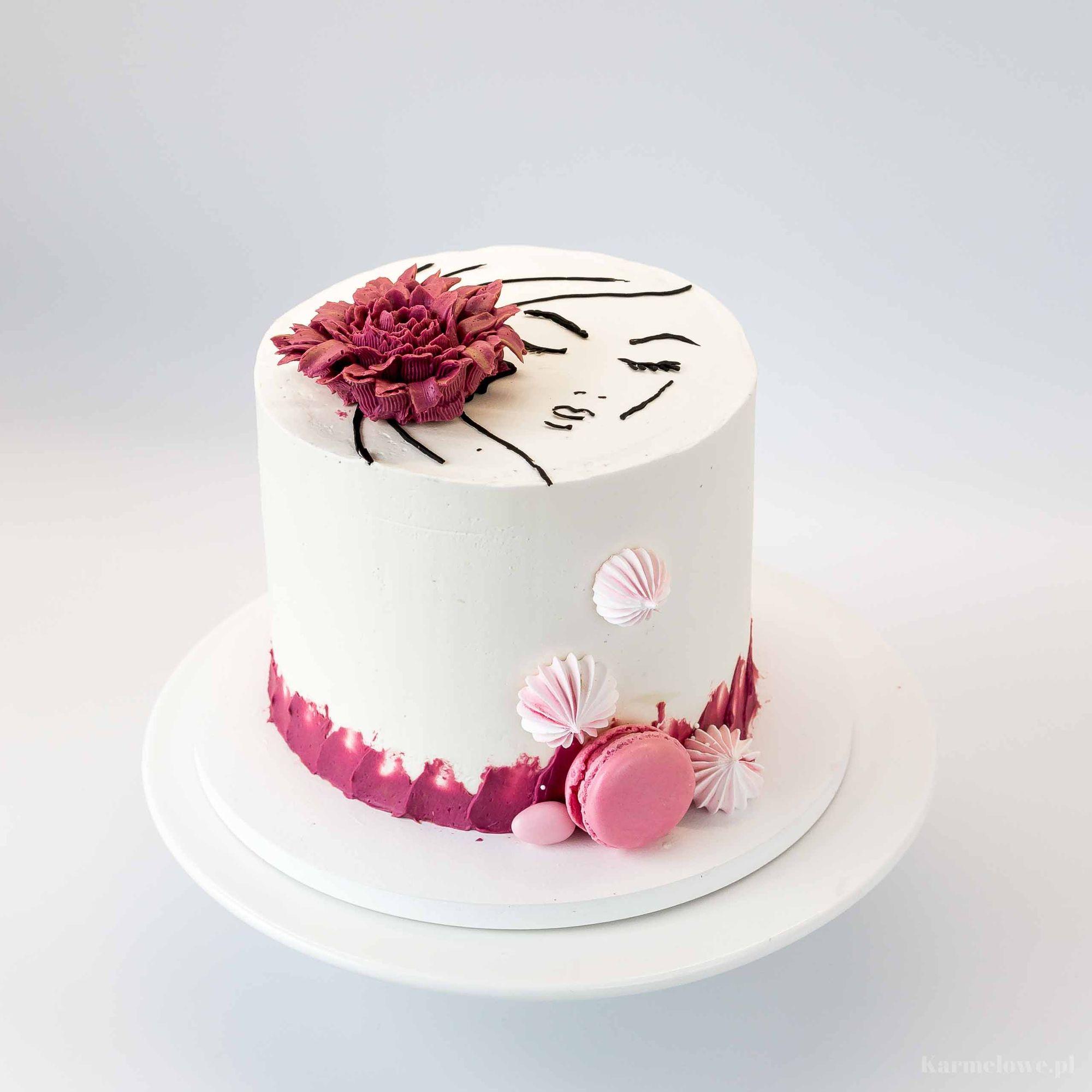 Recznie Malowany Tort Kobieta Z Kwiatem Karmelowe Pl Cake Desserts Birthday Cake