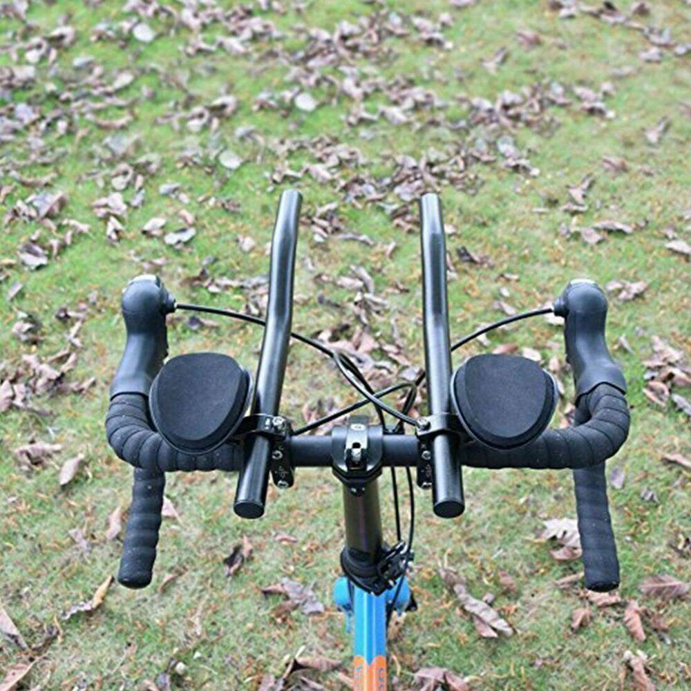 MTB Touring Bicycle Road Bike 31.8mm Clip On Aluminum Bullhorn Aerobar Black