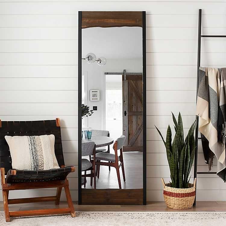 Live Edge Wood And Metal Full Length Mirror Full Length Mirror