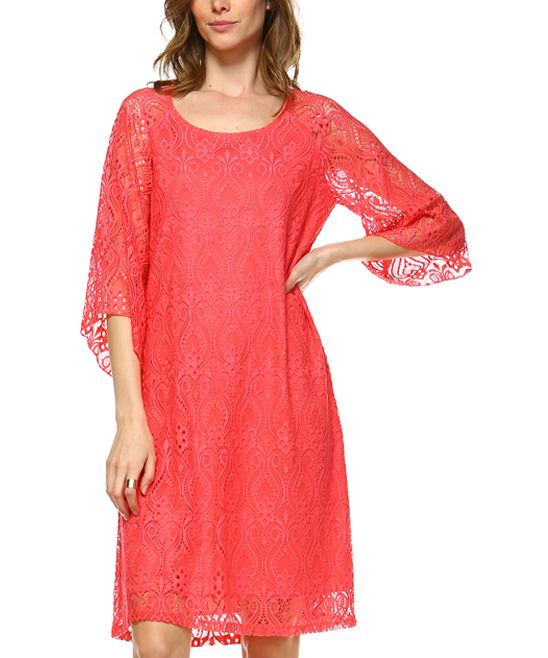 Coral Lace-Overlay Shift Dress