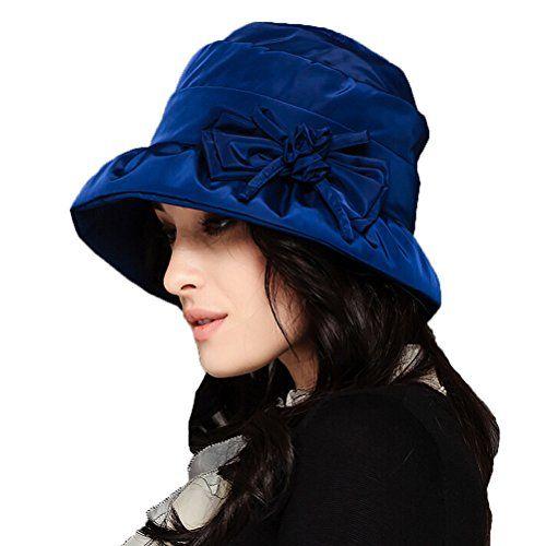 Rainy Day Cloche Hat in Blue Paisley Print Womens Showerproof Hats Handmade in the USA