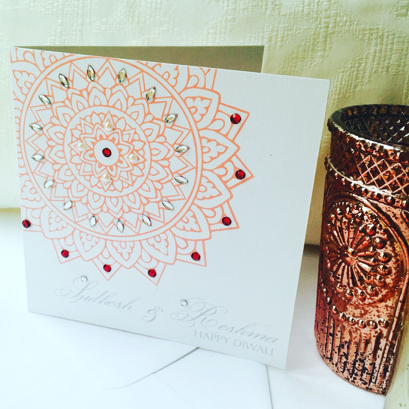 Bespoke Diwali Greeting Card Hand Finished With Rhinestones And