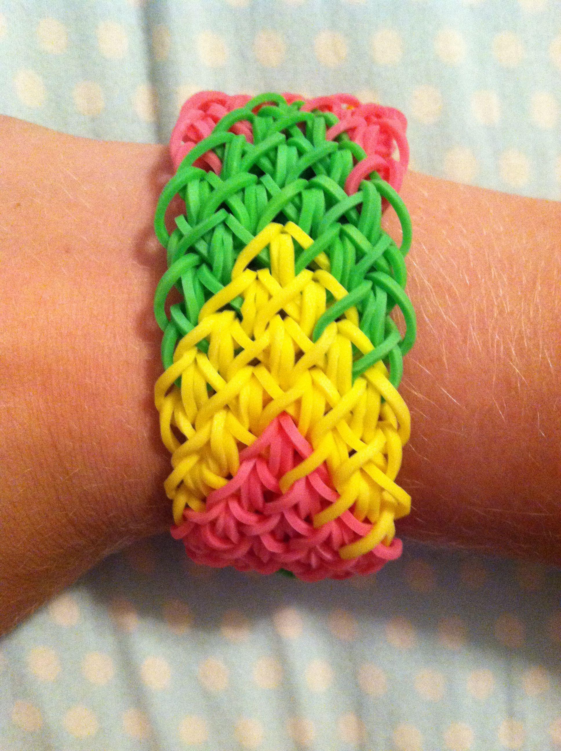 rainbow loom diamond cuff bracelet that i made
