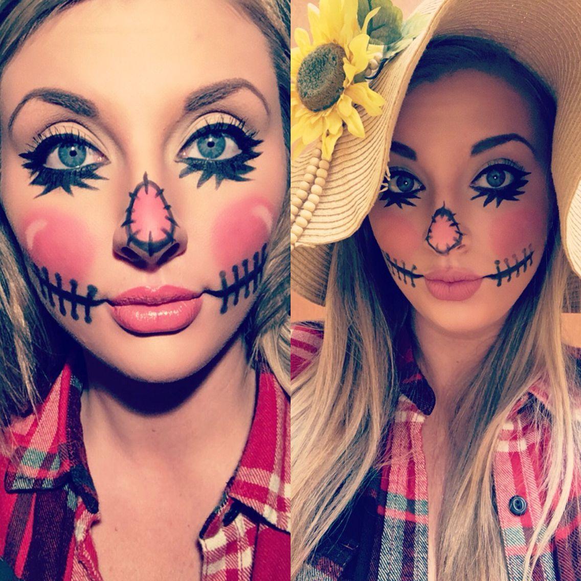 Cute easy scarecrow makeup halloween costume halloweencostume cute halloween fall - Maquillage halloween couple ...