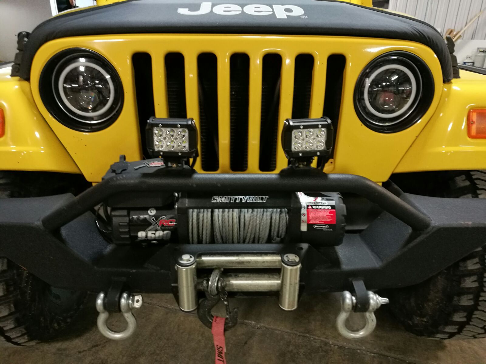 Jeep Wrangler Tj With Led Headlights And Led Spot Lamps Jeep