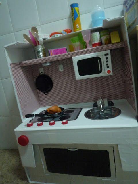 Cocinita de cart n con paso a paso instructions step by steps luna 39 s kitchen pinterest - Cocina de juguete step 2 ...