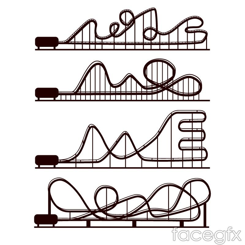 4 Roller Coaster Silhouettes Vector Roller Coaster Drawing Roller Coaster Coaster Projects