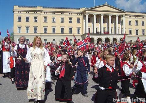 Norway's Syttende Mai, Oslo.  The Royal Palace in the background