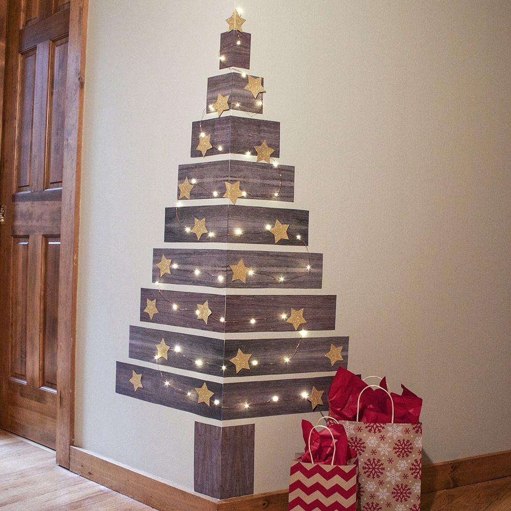 Jumbo Faux Plank Corner Christmas Tree Decals | Sala de ...