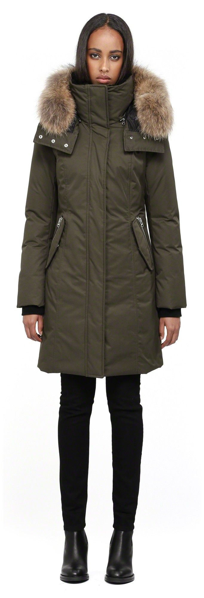 Mackage - KERRY LONG ARMY FITTED WINTER DOWN PARKA FOR WOMEN WITH ...