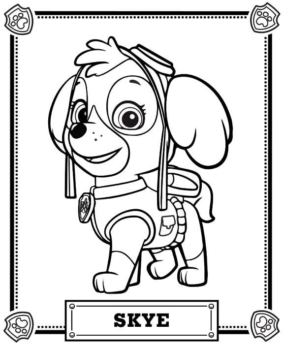 Paw Patrol Sky Coloring Pages 01