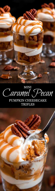Mini Caramel Pecan Pumpkin Cheesecake Trifles