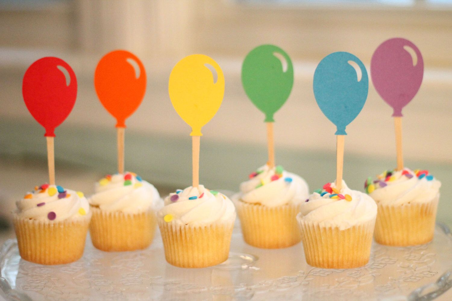 Mini Rainbow Balloon Cupcake Toppers - Set of 24 by ThePaperWonderland on Etsy https://www.etsy.com/listing/189103138/mini-rainbow-balloon-cupcake-toppers-set