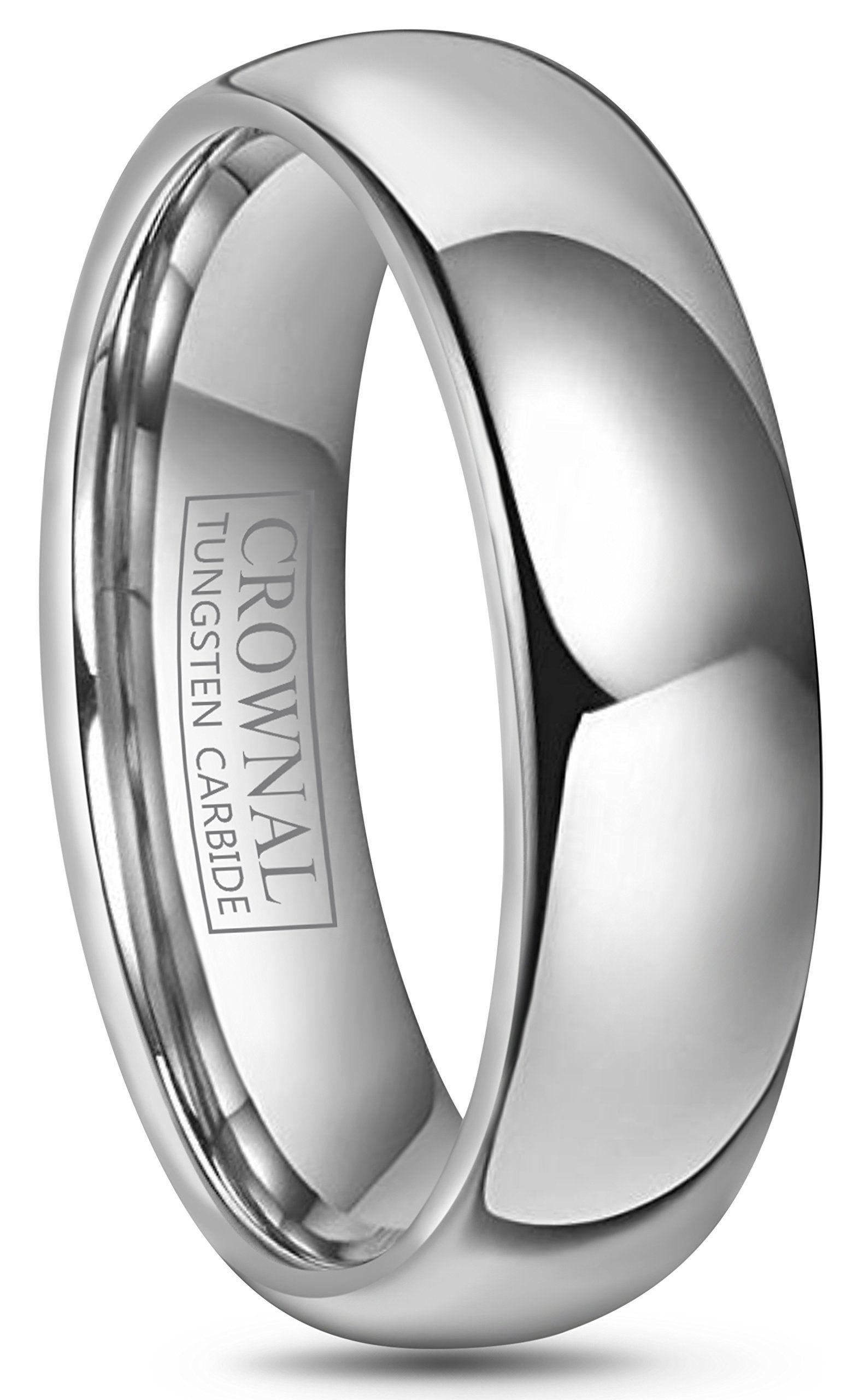 Crownal 4mm 6mm 8mm 10mm Tungsten Wedding Band Ring Men