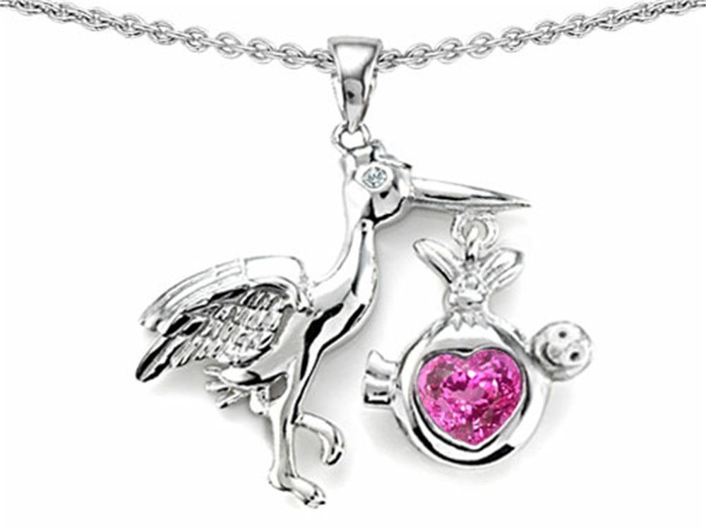 Star K Baby Stork Mother Pendant Necklace with Heart Shape Created Pink Sapphire