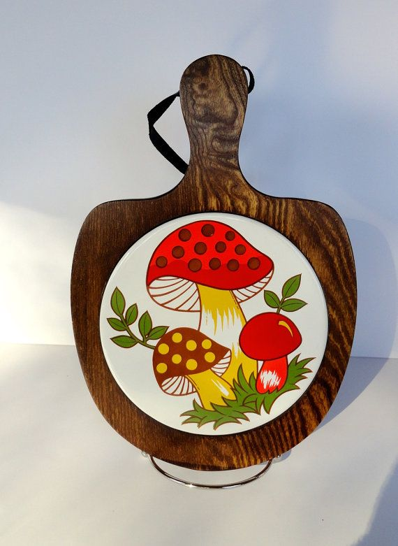 Vintage Mushroom Tile Trivet with Wooden Base by SucresDaintyDish, $9.50