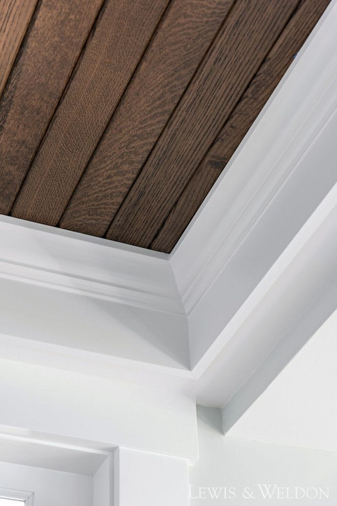 Almost Positive I Ve Decided To Stain The Shiplap Finish With White Crown Molding Dark Floors Exposed Brick Backs House Design Shiplap Ceiling Ceiling Trim