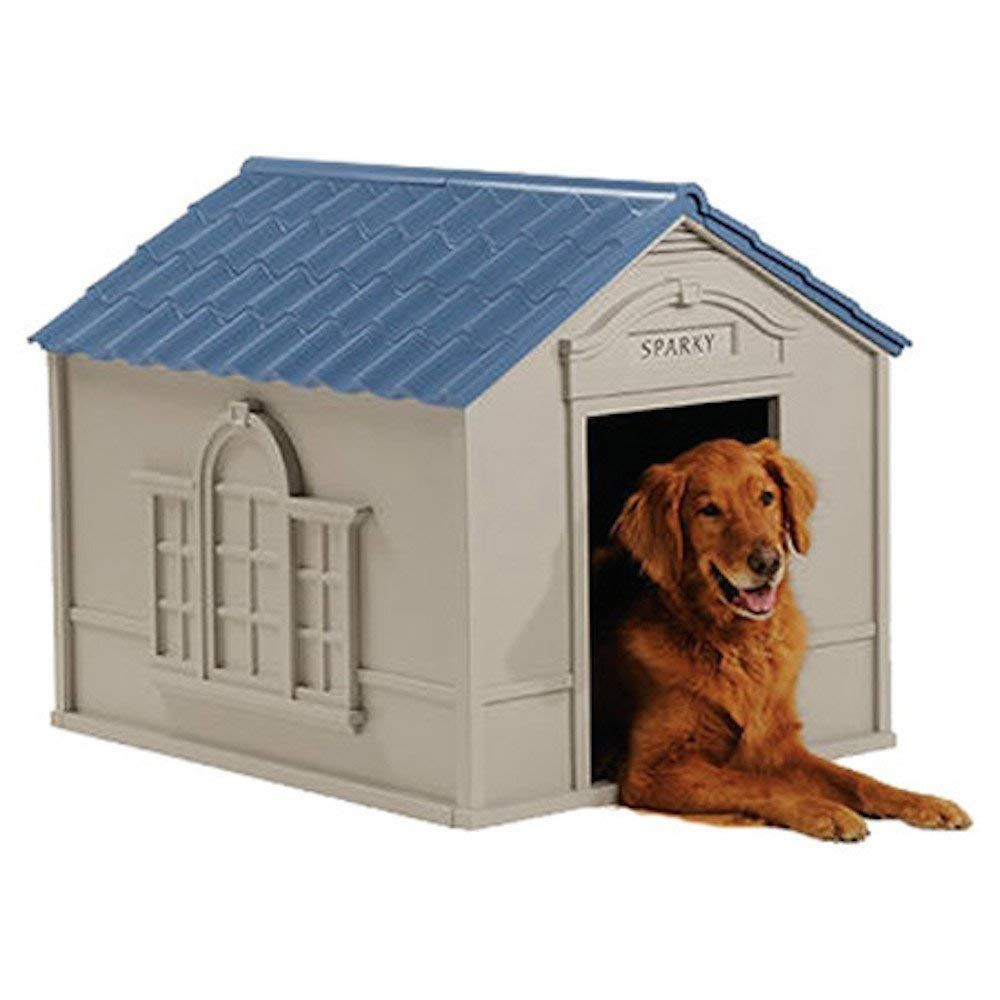 Deluxe Dog House Furniture Ventilated Sturdy Plastic Taupe And