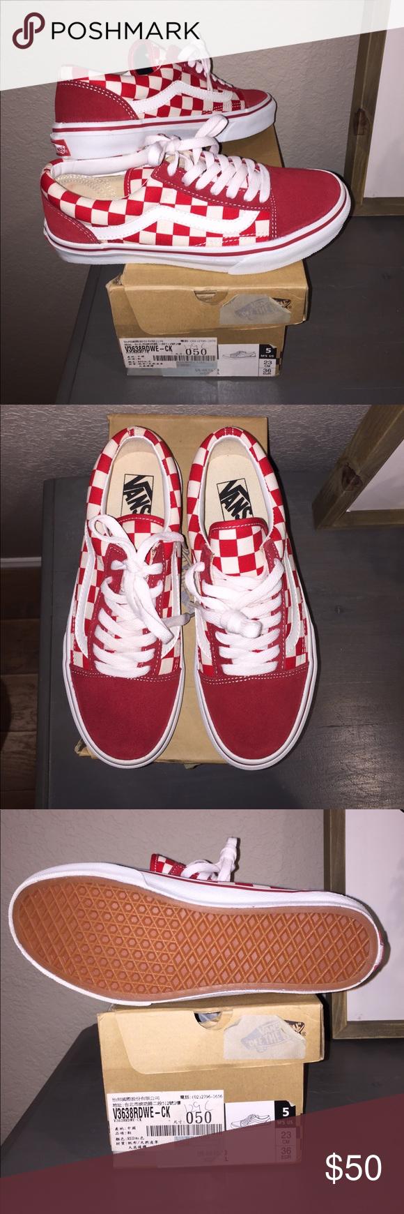 red checkerboard old skool vans mens