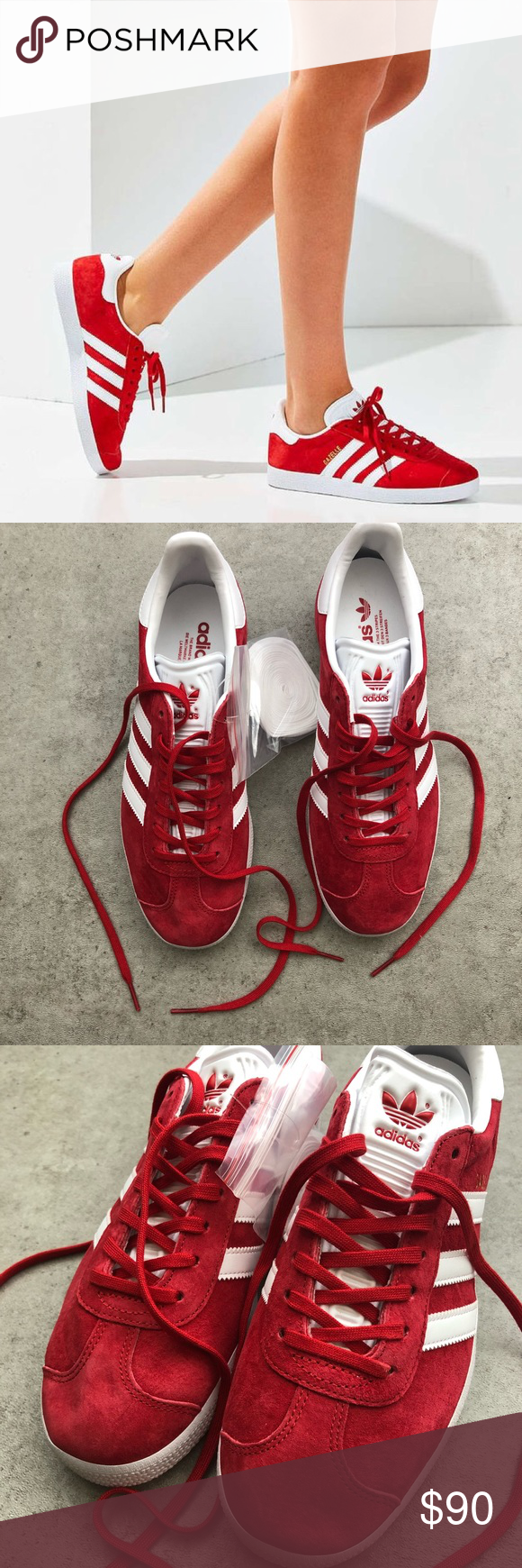 NWT Adidas Gazelle Red Suede Sneakers Brand new with tags