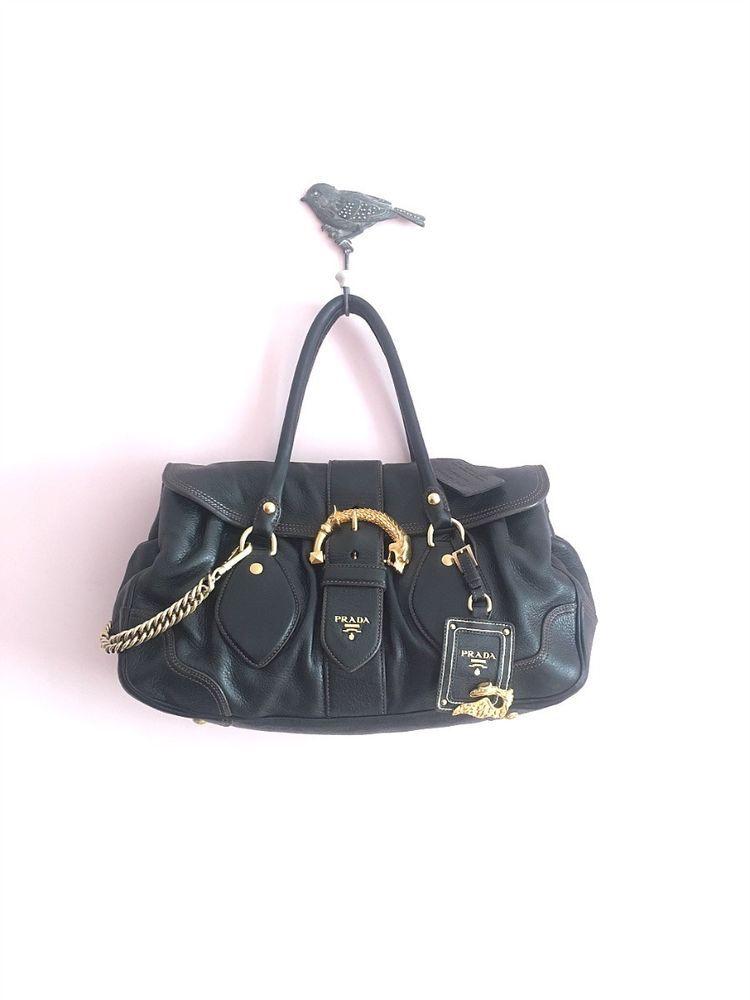 ea4dfe2e753d Authentic Prada Dragon Leather Handbag Vintage Black Deerskin Animalier Bag  Rare  PRADA  Tote
