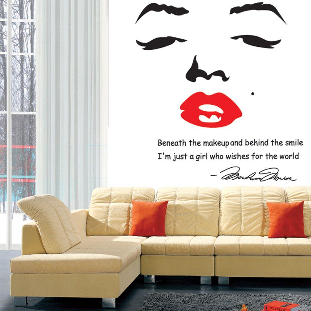 Barato Adesivo De Parede Sticke Retrato De Marilyn Monroe Parede DIY Papel  De Parede Adesivos Art Decor Mural Decalque Decoração De, Compro Qualidade  Papéis ... Part 62