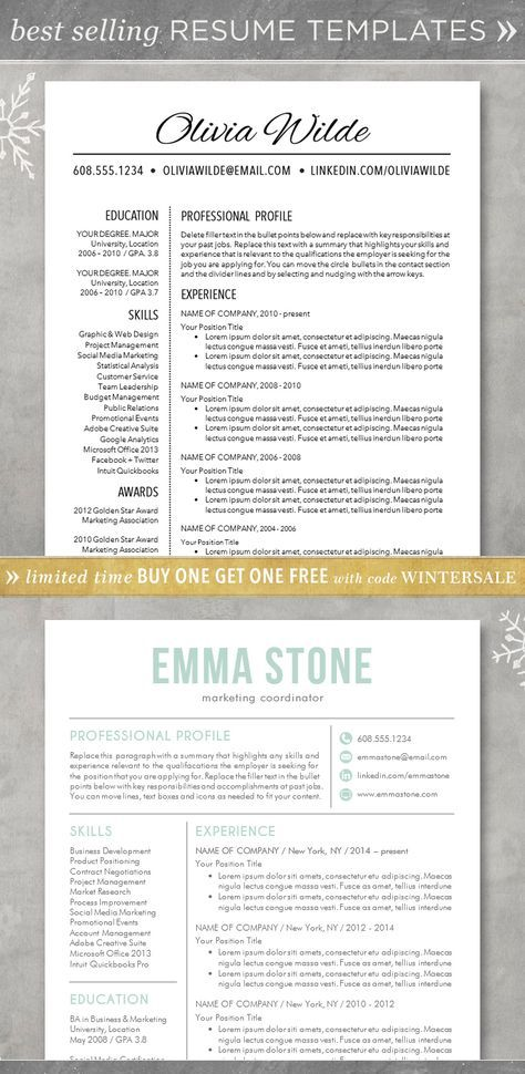 Resume template - CV template for Word Creative, customizable, free
