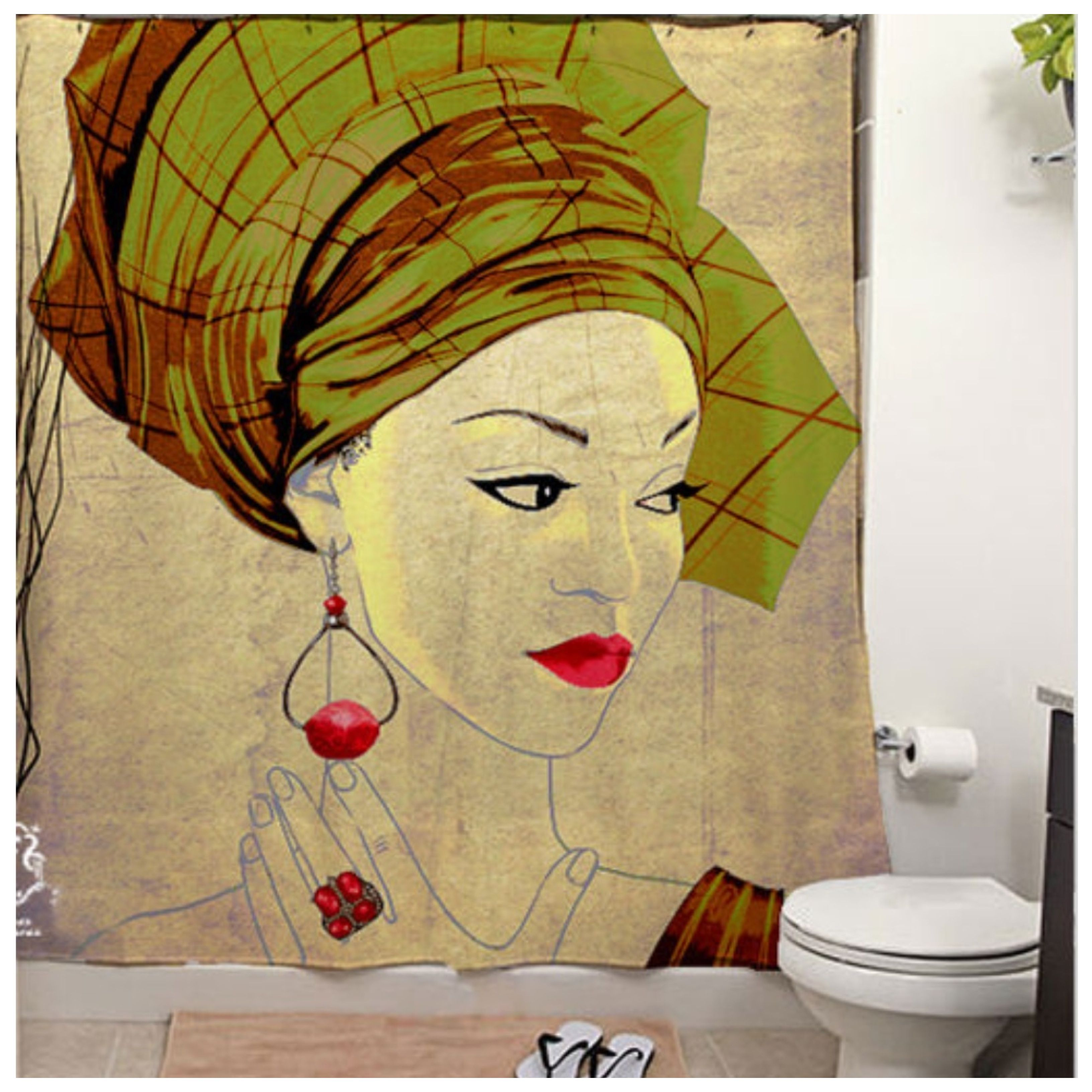 African Inspired Shower Curtain African Home Decor African