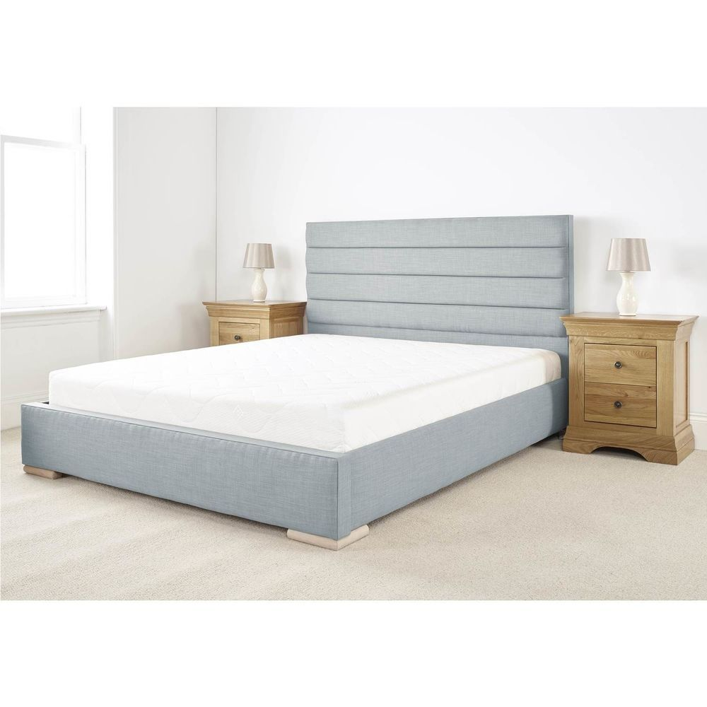 Details about double size bed solid wood timber frame deep padded