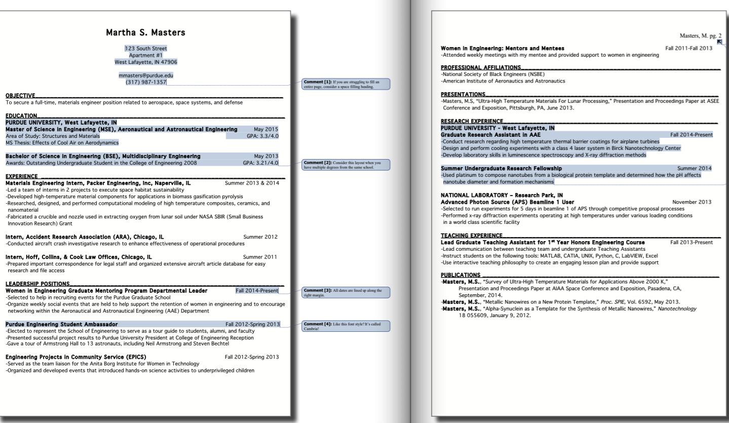 Purdue Cco Resume Samples Free Resume Sample Resume Template Examples Resume Design Template Sample Resume Templates