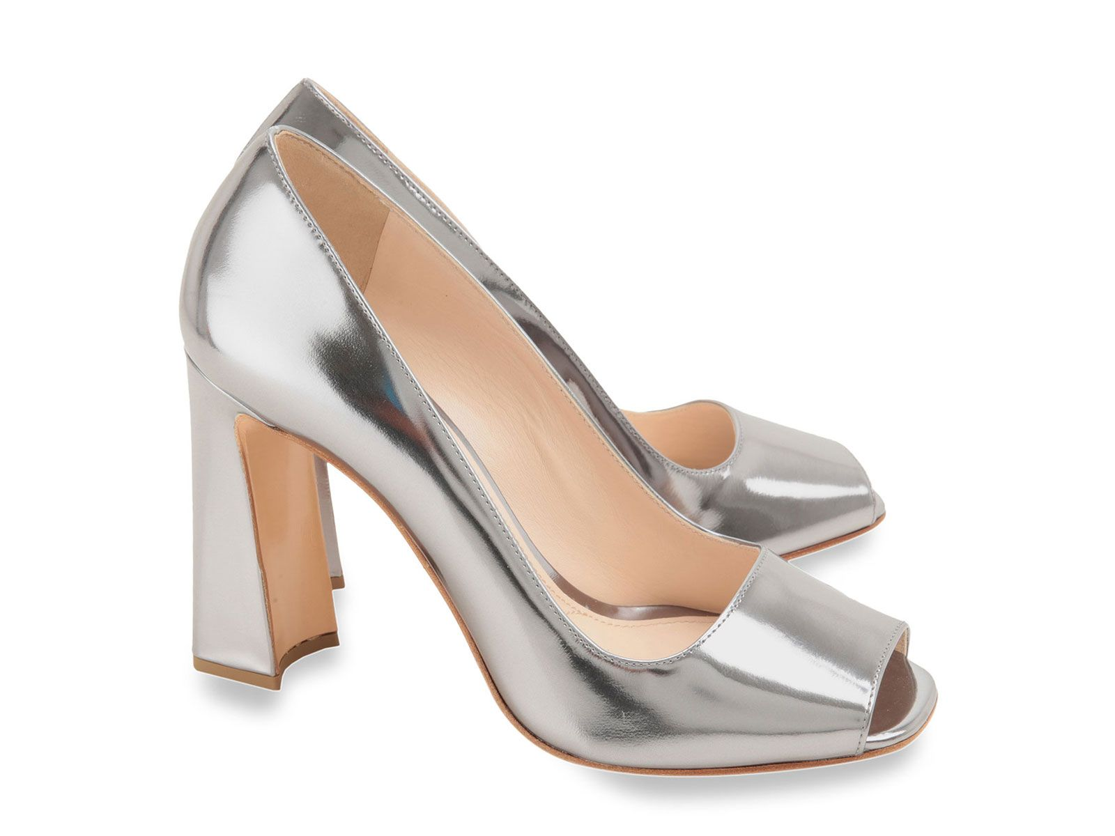 Prada heels pumps open toe in silver Patent Leather - Italian ...