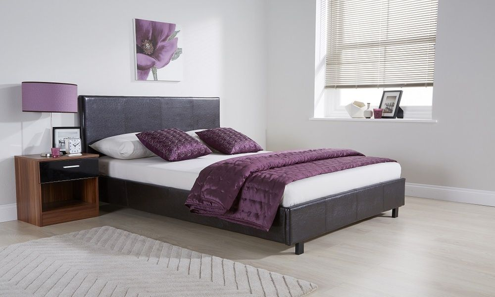 monte carlo bed with optional memory foam mattress frame small double frames high gloss bedside table