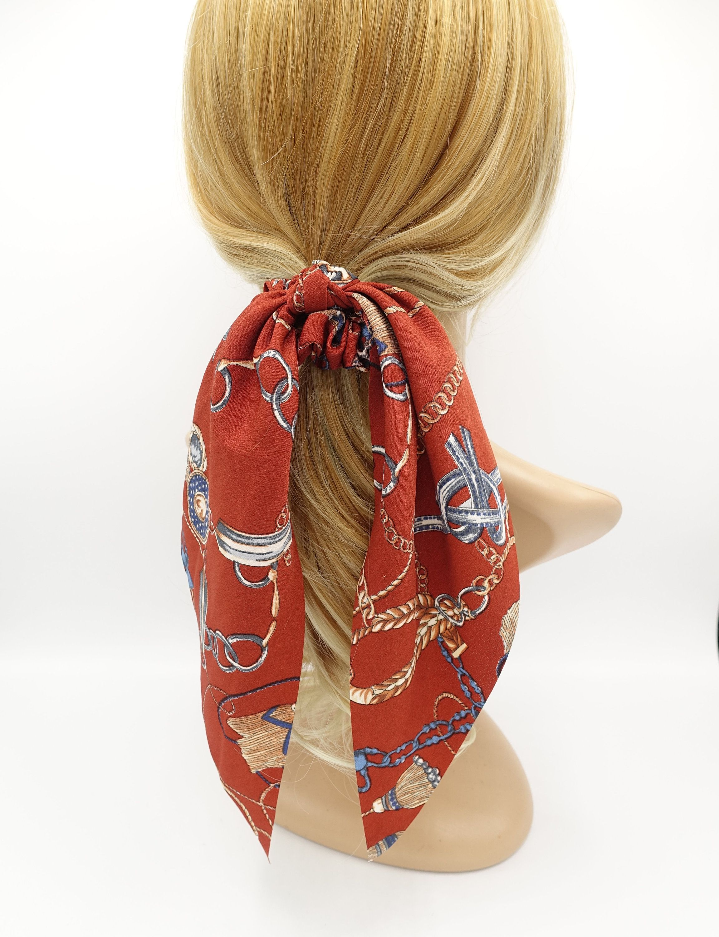 Chain Tassel Strap Print Bow Knotted Scrunchies Long Tail Etsy Hair Accessories For Women Hair Accessories Hair Accessories Chain