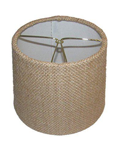 Upgradelights Set of Six European Drum Style Chandelier Lamp Shade Mini Shade Natural Burlap Fabric