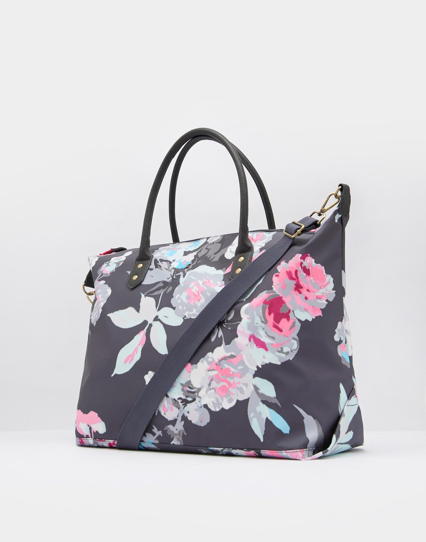 f36e3a464 Kembry Grey Bloom Printed Canvas Overnight Bag , Size One Size | Joules UK