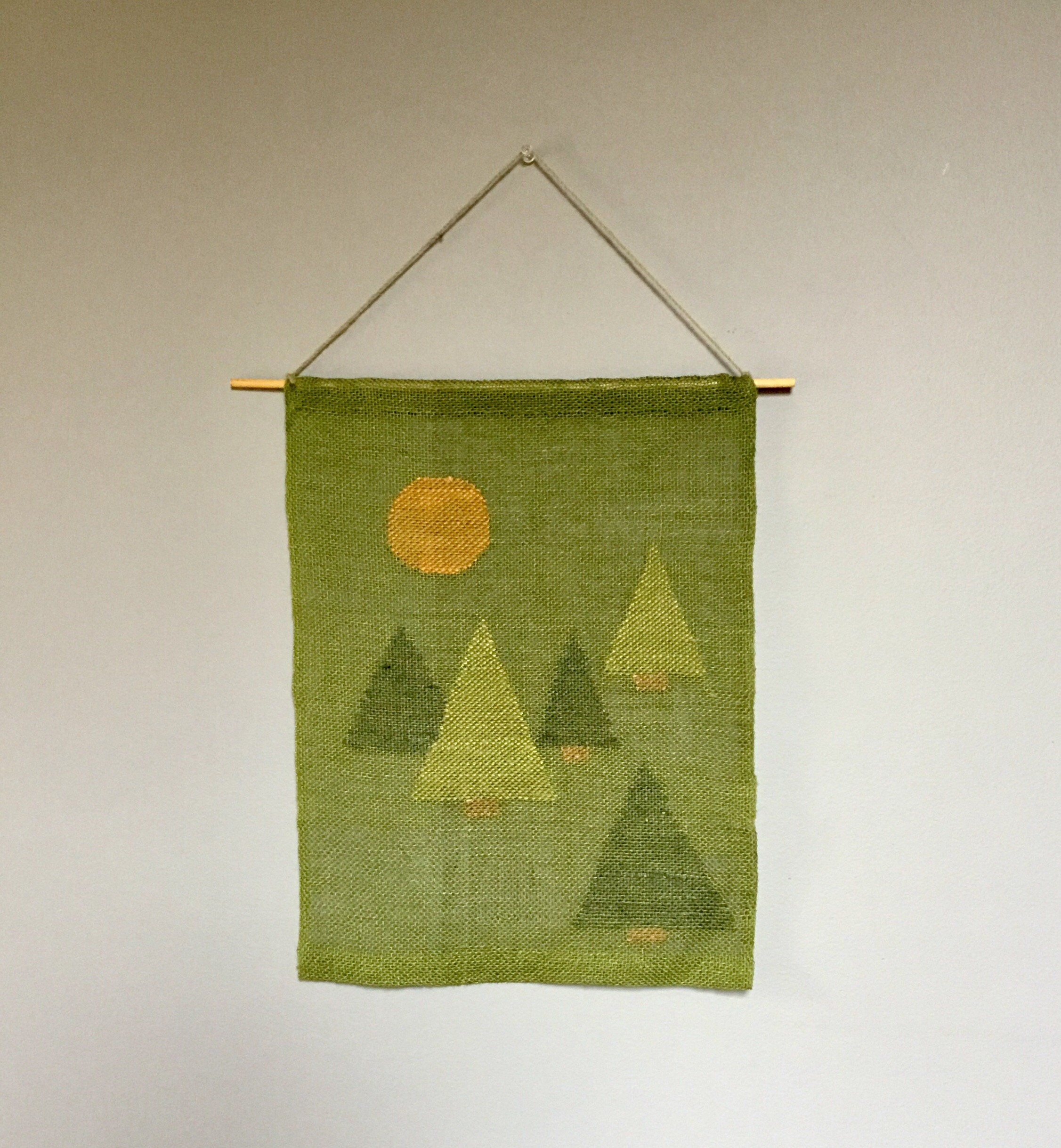 Handwoven, Wall Hanging, Linen, Green, Tree, Transparency, Tapestry, Vintage, Wall