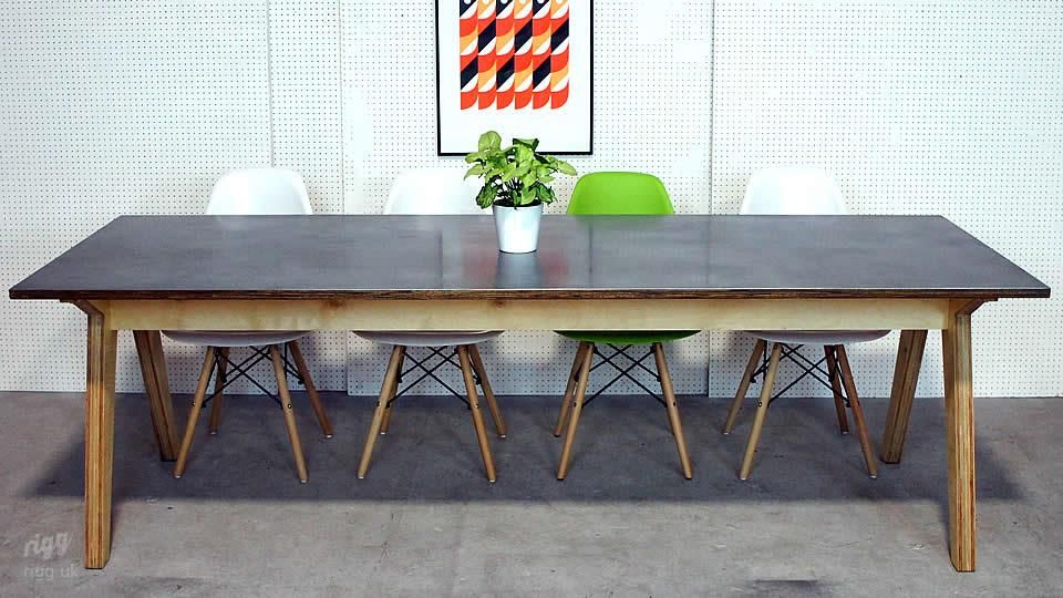 Plywood Zinc Dining Table Dining room Pinterest Zinc table
