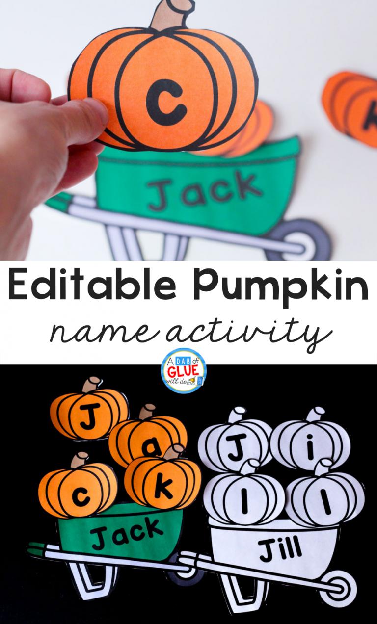 Pumpkin Editable Name Activity | A Dab of Glue Will Do BLOG