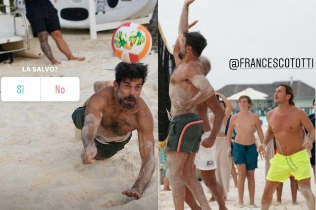 Pierfrancesco Favino Challenge For The Ball In Beach Volleyball In The Maldives The Resort Also Icardi And Ezio Greggio